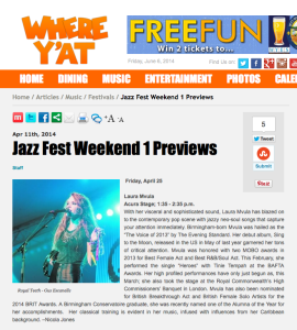 Where Y'At - JazzFest Preview - Laura Mvula - 4:25:14